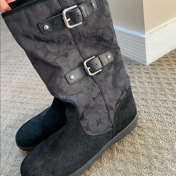 Coach Womens Black Snow Boots Size 9